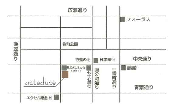 アクテデュースへの地図
